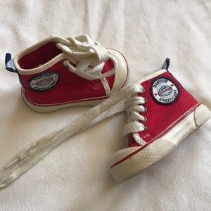 Red baby gap converse style sneakers